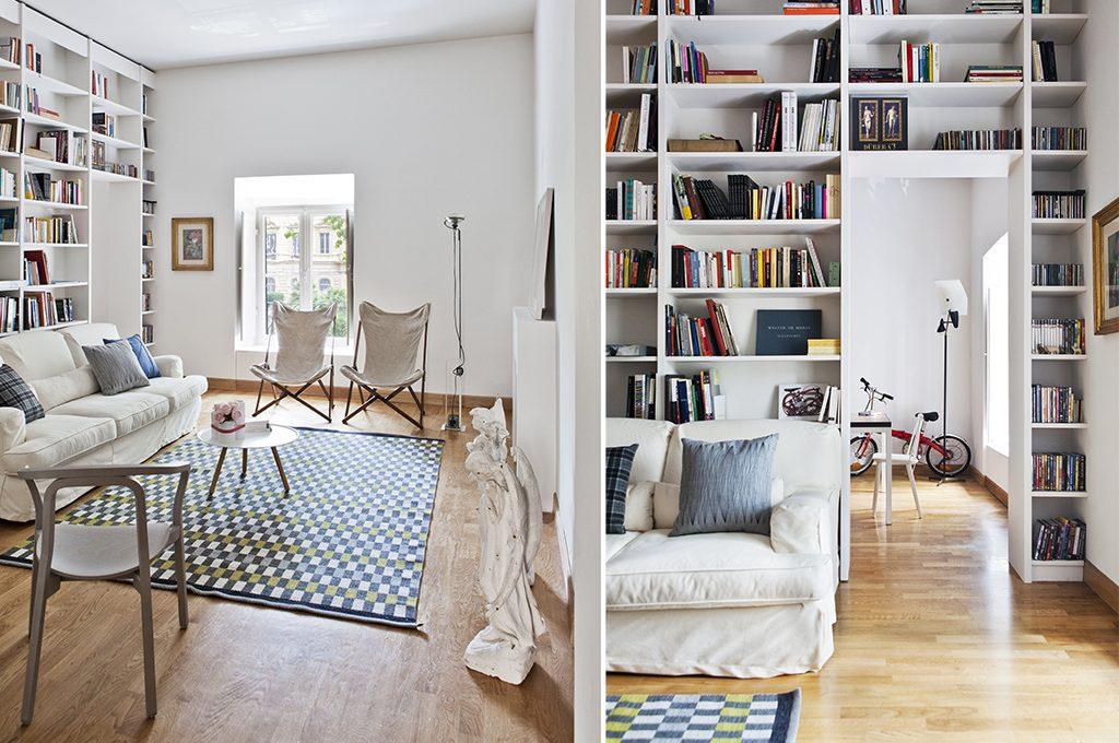 Quando non c'è l'ampiezza si può sfruttare l'altezza: librerie e mensole sono soluzioni da usare a tutta altezza